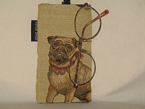 Pug On Tan Eyeglass Case